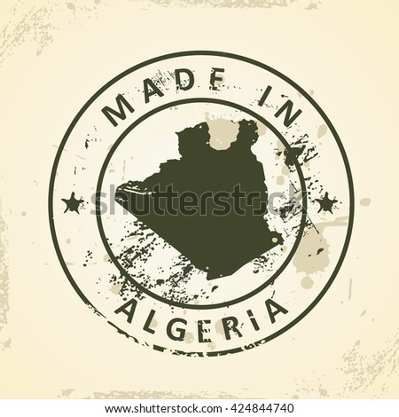 Grunge stamp with map of Algeria - vector illustration - stock vector