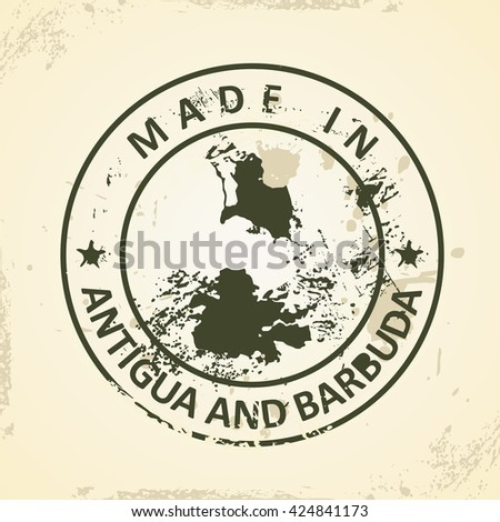 Grunge stamp with map of Antigua and Barbuda - vector illustration