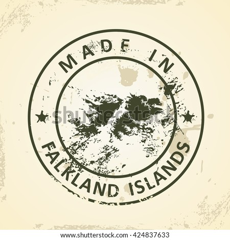 Grunge stamp with map of Falkland Islands - vector illustration