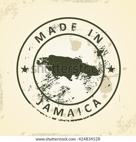 Grunge stamp with map of Jamaica - vector illustration - stock vector