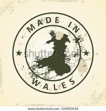 Grunge stamp with map of Wales - vector illustration - stock vector