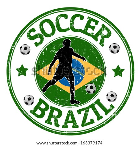 Grunge stamp with soccer player and name Brazil written inside, vector illustration - stock vector