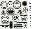 Grunge stamps design elements - vector objects isolated, separated and groupped - stock photo