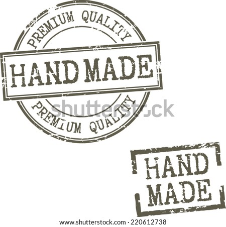 Grunge stamps 'Hand made' - stock vector