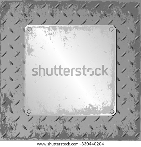grunge steel sheet with metal plaque - stock vector