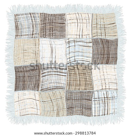 Grunge striped and checkered weave plaid with fringe in blue,beige,grey colors isolated on white background - stock vector