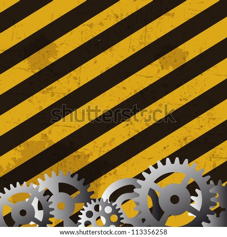 Grunge striped cunstruction background  and gears vector illustration - stock vector