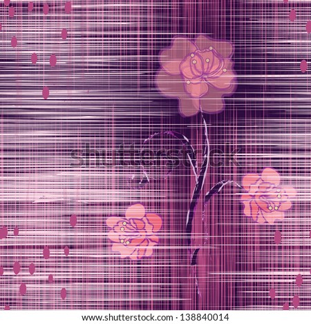 Grunge striped seamless pattern with abstract camellia in violet and pink colors - stock vector