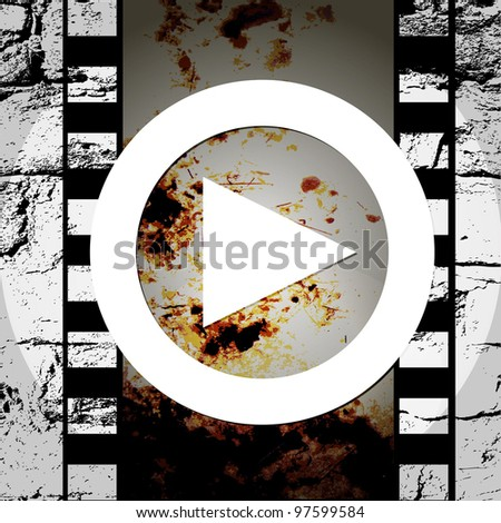 grunge style abstract music play icon - stock vector