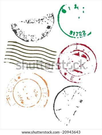 Grunge style blank postmarks frames - vector - stock vector