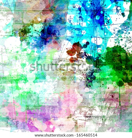 Grunge style colorful watercolor vector background - stock vector