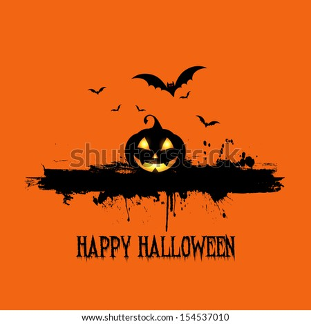 Grunge style Halloween background with pumpkin and bats - stock vector