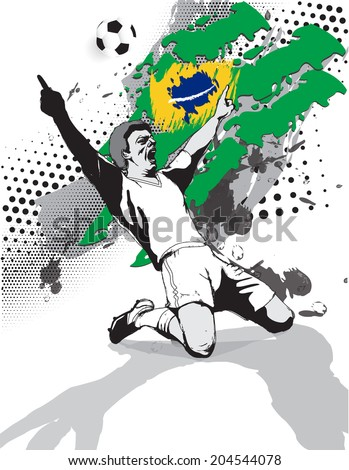 grunge style image of the flag and the victory of the football player on the football field of Brazil.vector illustration