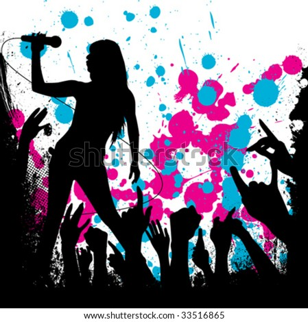 grunge style party background vector - stock vector