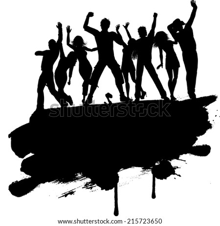 Grunge style silhouette of a group of party people - stock vector