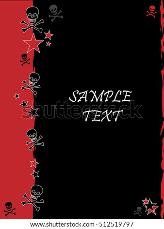 Grunge style, skull and stars vector background with feature color dark red