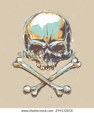 Grunge styled skull vector art.  - stock vector