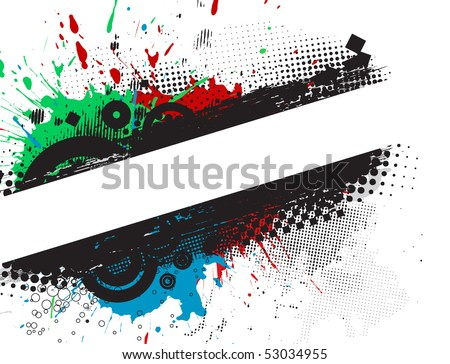 Grunge stylish banners with space of your text, vector illustration. - stock vector