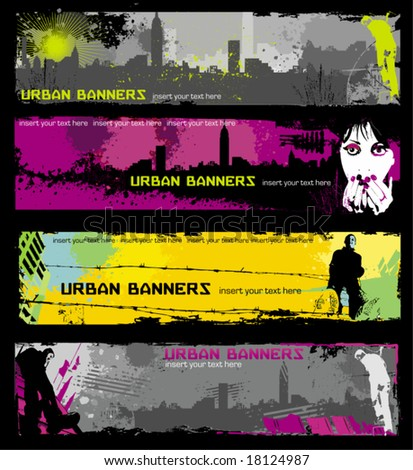Grunge stylish urban banners.  To see similar, please VISIT MY GALLERY. - stock vector