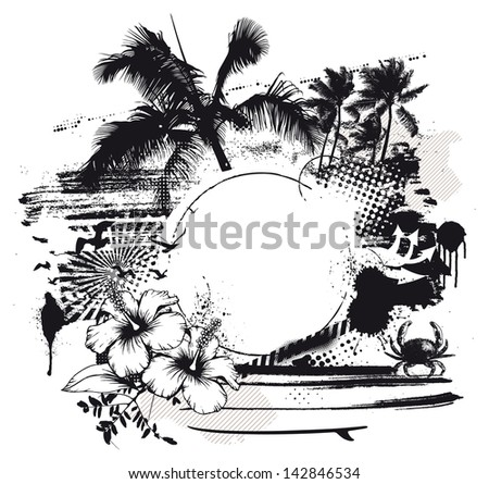 grunge summer scene with space to copy - stock vector