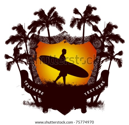 grunge summer shield with surfer walking - stock vector