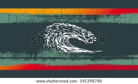 grunge surf flag with pipeline wave - stock vector