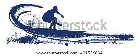 grunge surf scene with pipeline wave - stock vector