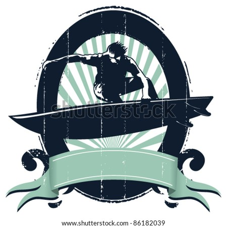 grunge surf shield with rider jumping - stock vector
