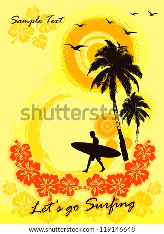 Grunge surfer poster / Tropical background with surfer - stock vector