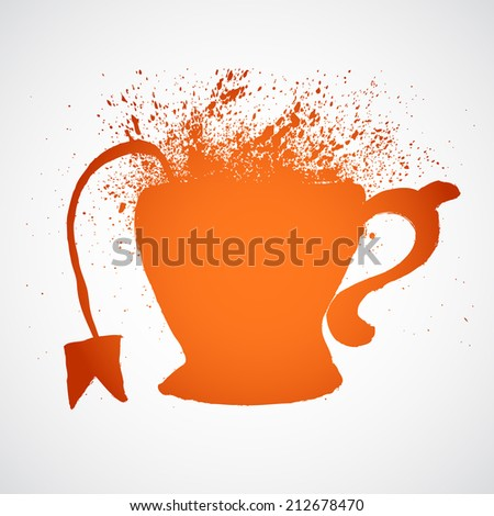Grunge tea cup with splashes - stock vector
