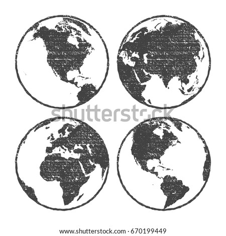 Grunge texture gray world map globe stock vector 670199449 grunge texture gray world map globe set transparent vector illustration gumiabroncs Image collections