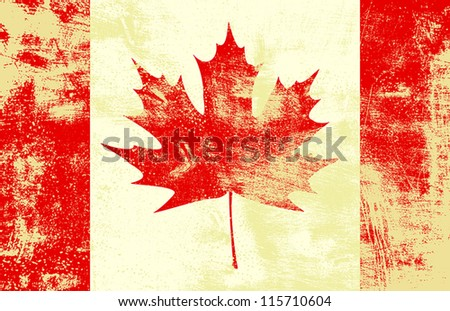 Grunge textured canadian flag. EPS10 vector illustration. Grunge effect can be cleaned easily. - stock vector