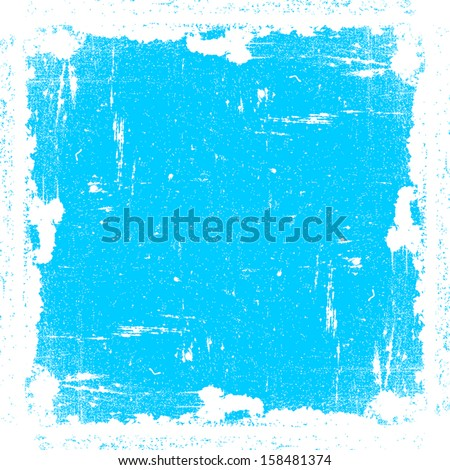 Grunge Textured Frame, cyan color. EPS10 vector. - stock vector