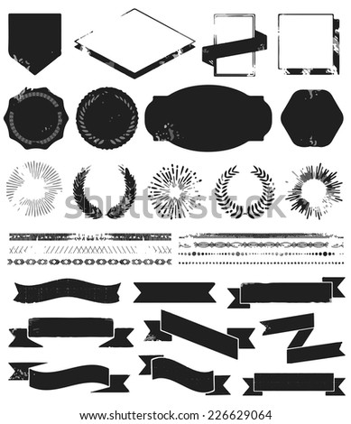 Grunge textured set of vintage styled design hipster icons. Vector signs and symbols templates for your design, logo and badge. - stock vector