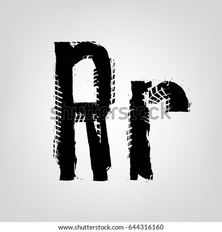 Grunge Tire Letter R Unique Off Road Isolated Lettering In A Black Colour Vector