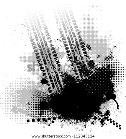 Grunge tire track black background with halftones - stock vector