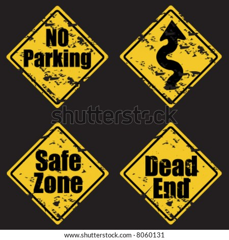 Grunge traffic road signs