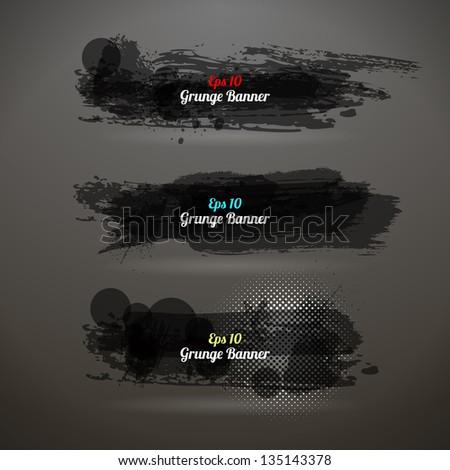 Grunge Transparency Banner. Vector Vintage Design. Black. - stock vector