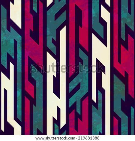 grunge tribal geometric seamless pattern - stock vector