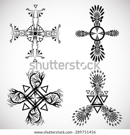 Grunge Tribal Tattoo Elements Collection Aztec Stock Vector