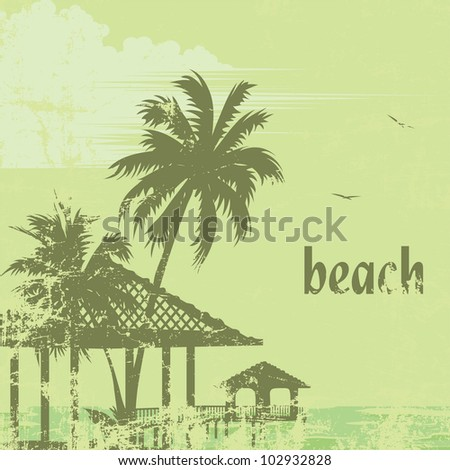 grunge tropic beach palms and pier - stock vector