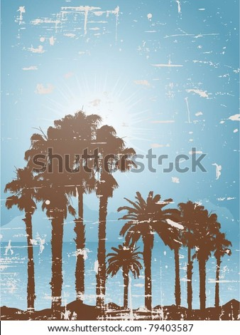 Grunge tropical landscape - stock vector