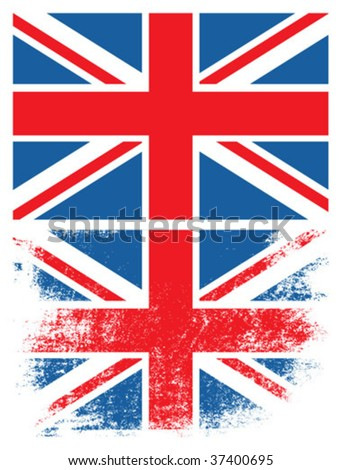 Grunge UK flag. - stock vector