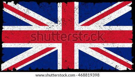 Grunge UK flag.British flag.Vector template.