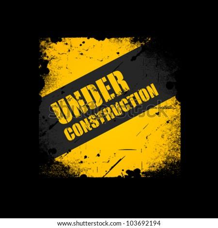 Grunge Under construction texture background, vector illustration - stock vector