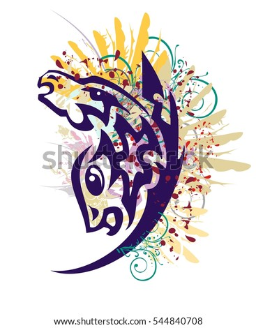 Grunge unusual horse symbol. Tribal symbol formed by the head of a horse and-headed fish with feathers, floral elements and blood drops