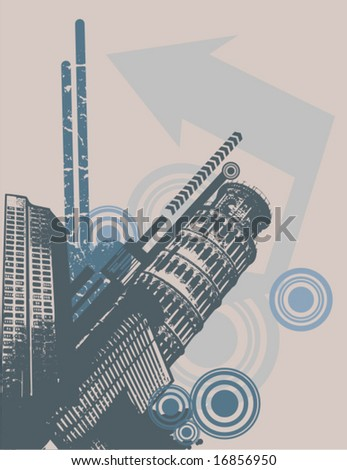 Grunge urban design, vector illustration. - stock vector