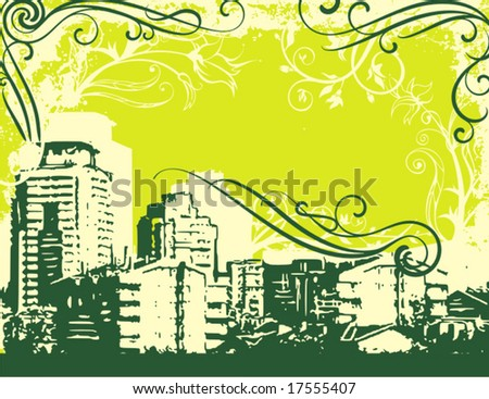 Grunge urban design with ornamental details. Vector illustration.