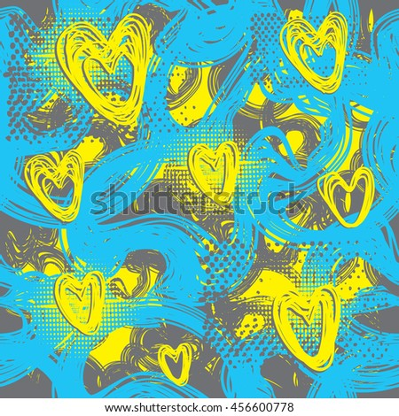 Grunge urban pattern for girls. Abstract seamless wallpaper. Colorful bright yellow and blue background with hearts. Creative modern fashion design for sport clothes. Repeated girlish backdrop.  - stock vector