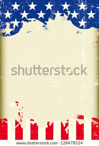 Grunge USA flag. A poster with a large scratched frame and a grunge us flag for your publicity. - stock vector